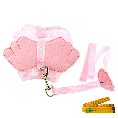 Dog Costumes Angel (Pink Pet Cat Dog Harness and Leash Set with Angel Wing for Small Dogs Cats (Medium))