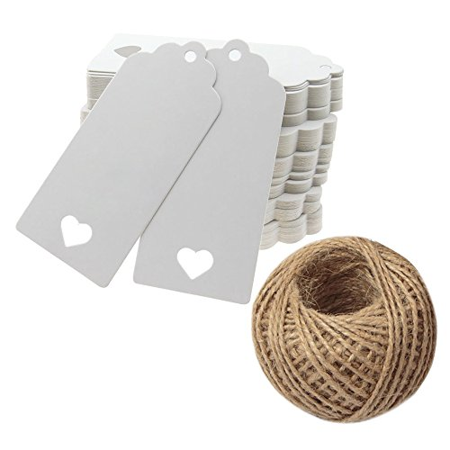Gift Tags,100 Pcs White Kraft Paper Valentine Gift Tags with String Vintage Tags with Hollow Heart Wedding Favor Tags Party Gift Tag Name Price Labels with 100 Feet Natural Jute Twine ()