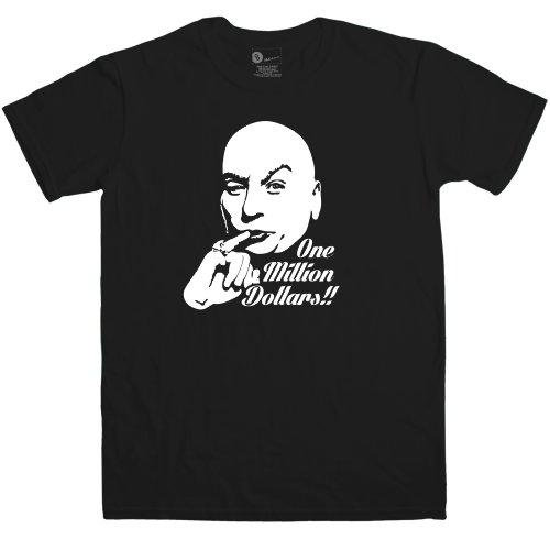 Mens Inspired By Austin Powers T Shirt - One Million Dollars - Black - -