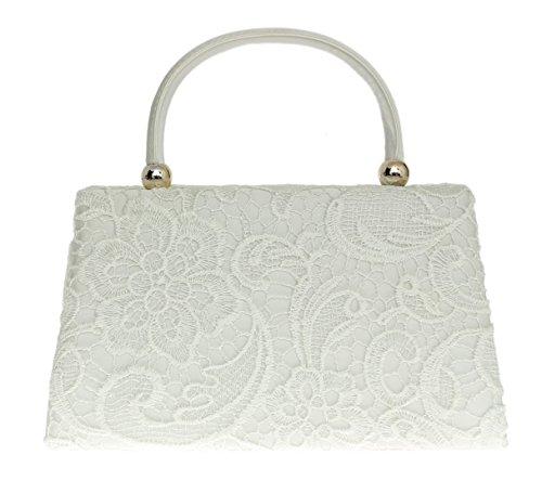 Main Dentelle Femmes Sac Blanc Haut Handbags Élégant Inspiré Designer Vintage Poignée Mode Satin Pochette Soirée À Girly Fête qCzFEww
