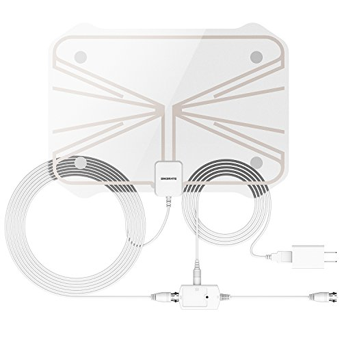 "Digital Antenna, Best HDTV Antenna1080P Advanced 50 Miles Range TV Antenna Indoor, Super Thin For 0.02"", 16.5ft Coax Cable With Detachable Amplifier Signal Booster ( With UL Certificate) Image"