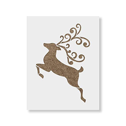 Reindeer Stencil - DIY Christmas Stencil That Works Great for Signs and Crafting ()