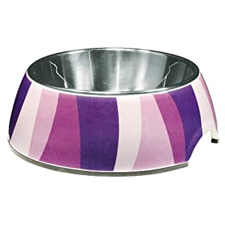 Dogit 2-in-1 Durable Dog Bowl, Food and Water Bowl for Dogs with Removable Stainless Steel Insert for Easy Cleaning, Purple Zebra Pattern, Small