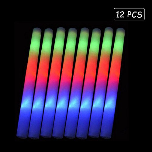 Lifbeier Glow Sticks Party Pack - 12 PCS LED Flashing Light Up Foam Sticks Ideal for Birthday Wedding Decorations
