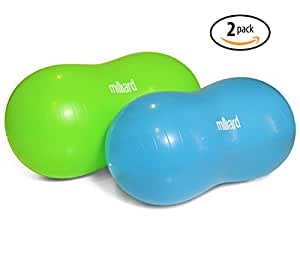 "Milliard Anti-Burst Peanut Ball Variety Pack - Approximate Sizes: Green 39x20"" (100x50cm) & Blue 31x15"" (80x40cm) Physio Roll"
