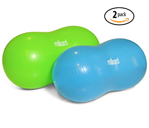 Milliard Anti-Burst Peanut Ball Variety Pack - Approximate Sizes: Green 39x20'' (100x50cm) & Blue 31x15'' (80x40cm) Physio Roll by Milliard