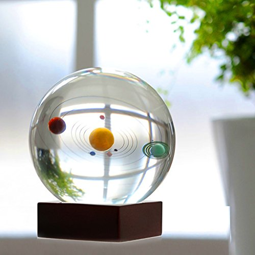 Planet Paperweight - Sumnacon Clear Crystal Ball Sphere 80mm / 3 inch , Solar System Crystal Ball with Wood Stand, Planet Balls for Astronomer, Lover of Space, Kids and Student