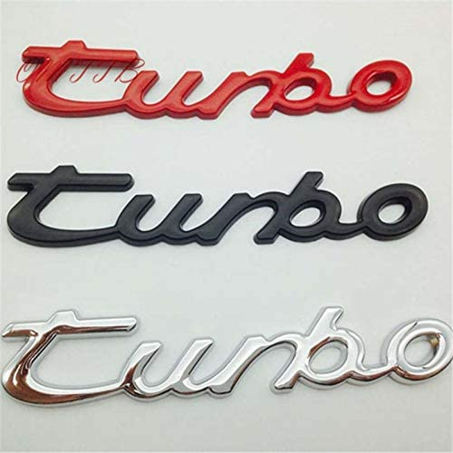 3D Chrome Turbo Emblem Badge car Sticker Silver Red Black Rear Front Turbo Sticker for Porsche Cayenne Macan Panamera 911 718 Color Name: Red