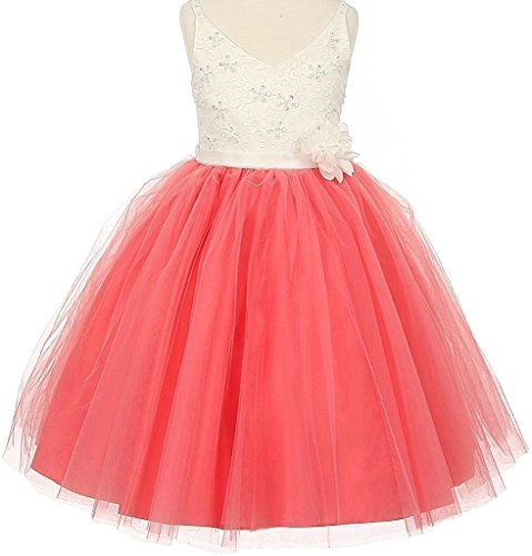 Little Girls Two Tone V Neck Beaded Lace Top Flowers Girls Dresses Coral Size 6