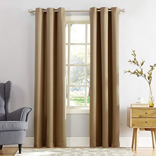 "95""x40"" Kenneth Energy Saving Blackout Grommet Top Curtain Panel Taupe - Sun Zero"