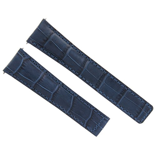 - 20MM Genuine Alligator Leather Band Strap Deployment Clasp for TAG HEUER Blue 3T