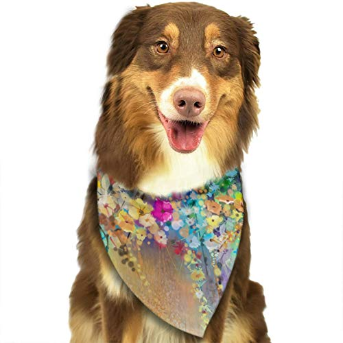 FRTSFLEE Dog Bandana Herbs Weeds Blossoms Ivy with Florets Shrubs Scarves Accessories Decoration for Pet Cats and Puppies
