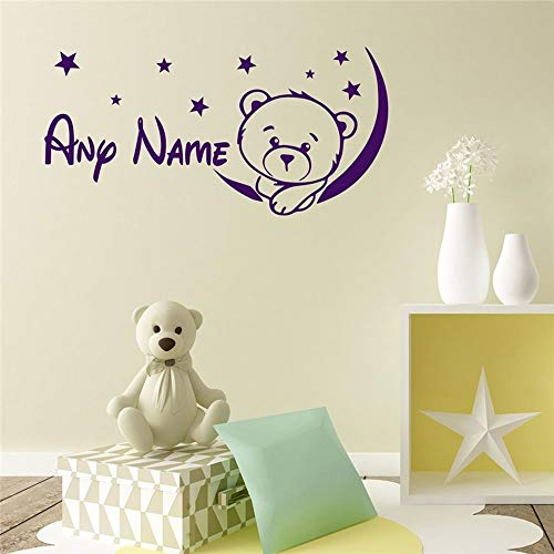 Ksiae Vinyl Peel and Stick Mural Removable Wall Sticker Decals Customized Name Children Art Home Decor Bear Personalized Nursery Kids Room Sticker Decal ()