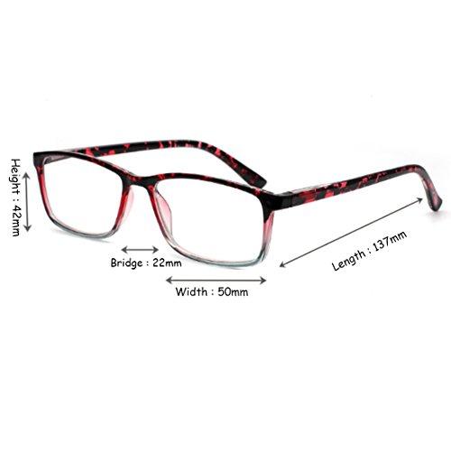 Gafas y Inlefen lentes mujeres para sol rectangulares Rojo de de hombres resina ArqWqd6zp
