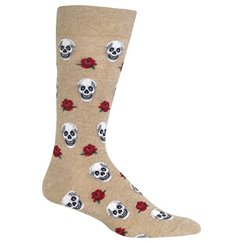 (Hot Sox Men's Skull and Roses Socks, Beige, Men's Shoe Size 6-12.5)