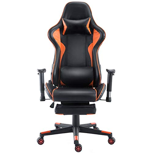 High Back Racing Recliner Gaming Chair With Footrest Pu