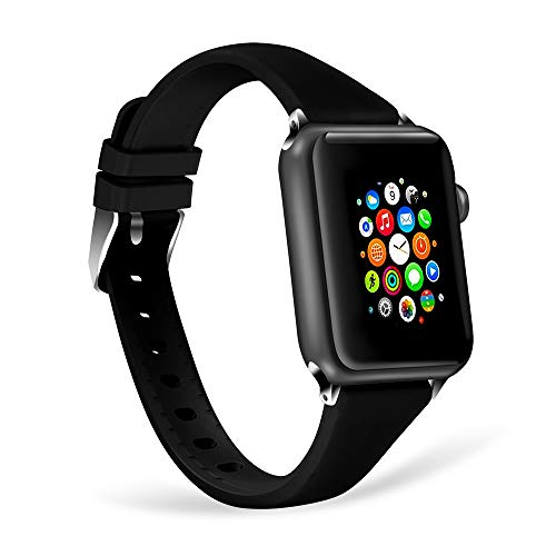 WISHTA Compatible with Apple Watch Band 38mm 42mm, iWatch Bands Soft Silicone Sport Band Replacement Wristband Compatible with Apple Watch Series 3/2/1 (Black, 38mm)