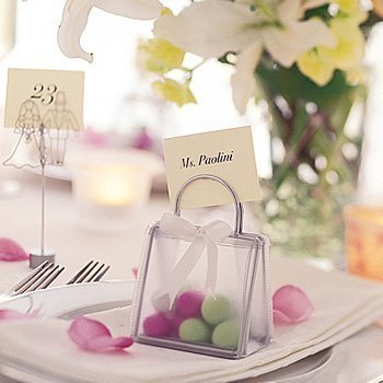Clear Petite Lookers Gift Bag Place Card Holders (12 per set) by Escape Concepts