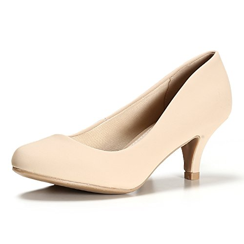 STELLE Womens's Classic Low Heels Pump Shoes for Party, Wedding, Bridal, Formal Office(10M, Nude Faux Nubuck)