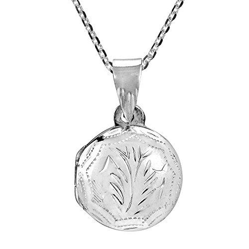 AeraVida Carved Tree Branch Round Locket .925 Sterling Silver Pendant Necklace