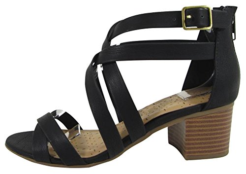 Cambridge Select Women's Crisscross Ankle Strappy Chunky Stacked Block Mid Heel Sandal (9 B(M) US, Black - Block Fashion