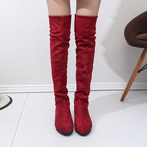 Amcool Mode Damen Lange Stiefel Winter Herbst Mode Stiefel Mittlerer Absatz Boden Knie hoch Stiefel Rot