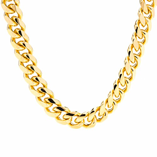 Lifetime Jewelry Cuban Link Chain 11MM Round 24K Gold Plated Thick Necklace Guaranteed for Life 24 -