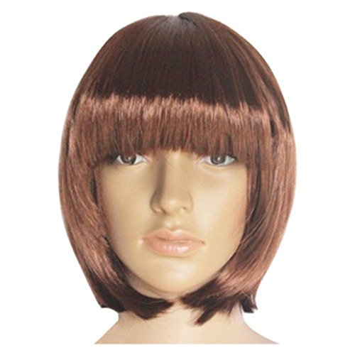 (Fullfun Short Bob Hair Wigs 13.8 Straight with Flat Bangs Synthetic Colorful Cosplay Daily Party Wig for Women Natural As Real Hair (K))