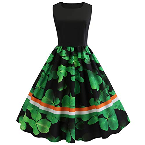 (TIFENNY Women's Princess Dress Fashion St Patrick's Day Sleeveless Casual Printed Swing Dress for Party)
