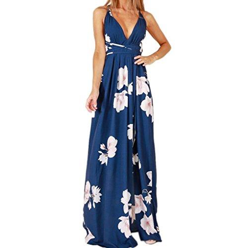 Mujeres Alta Long V Flor la de Providethebest poliéster con Fiesta Original Vestido Dividir Cuello en Beach del M de Respaldo Proyecto Vestido de de sin impresión de Las 05CB5q