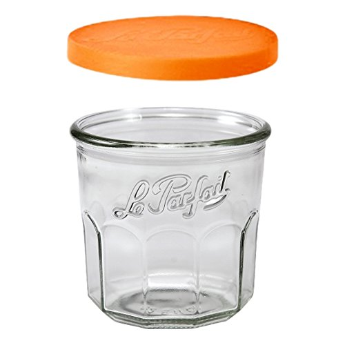 6 Le Parfait Jam Pots - Faceted French Glass Working Glasses - Preserve, Store, Serve, Décor (6, 445ml - 15oz - Pots)