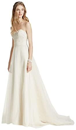 dcd8b4b5a4e9 Strapless A-Line Beaded Lace Tulle Wedding Dress Style WG3586, Ivory ...