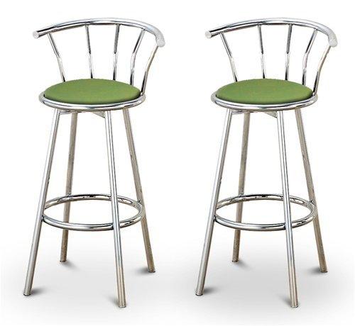 2 Green Celery Vinyl Specialty / Custom Chrome Barstools with Backrest Set ()