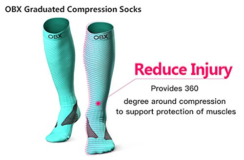 OBX Compression Socks for Men & Women-Professional Fit for Ruining&Racing-Knee High Socks for Athletics,Marathon,Travel,Shin Splints,hiking&Outdoor sports-Best for Muscle Recovery(1 pair) by OBX (Image #1)