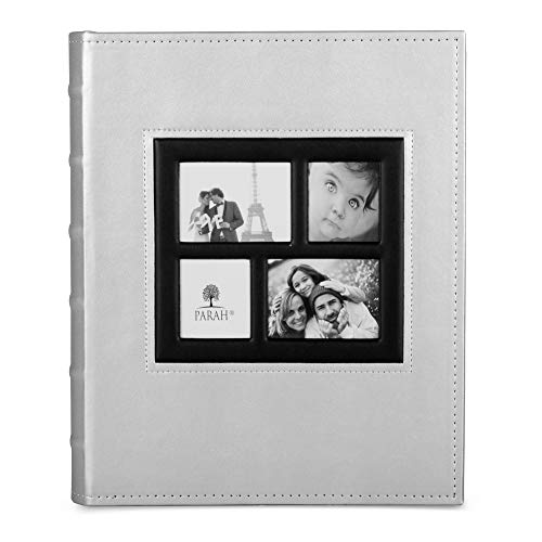 (PARAH LIFE Luxury 200 5X7 Photo Album for Wedding, Anniversary, Vacation, Baby & Family Photos - Beautiful Leather Bound Picture Display Book for 200 5x7 Photographs - Scrapbook Foto (Silver))