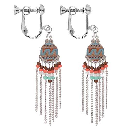 Vintage Clavicle Chain Clip On Earrings Women Dangle Long Tassel Crystal Stone Drop Bohemian