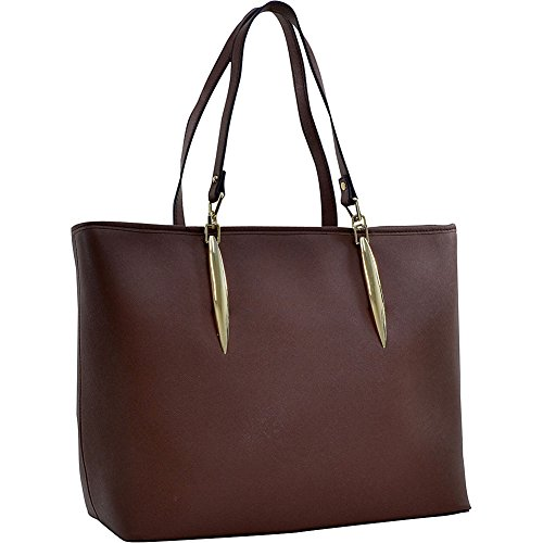 - Dasein Large Saffiano Faux Leather Tote with Minimal Accent Hardware (Coffee)