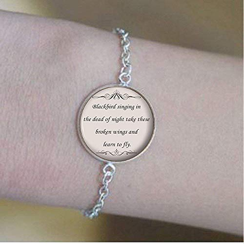 Quote Bracelet- Blackbird Lyrics Quote - Inspirational Music Bracelet- Motivational Gift for Women and Girls