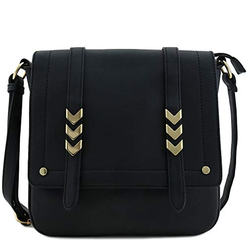 Double Compartment Large Flapover Crossbody Bag Black (Black Over The Shoulder Purse)