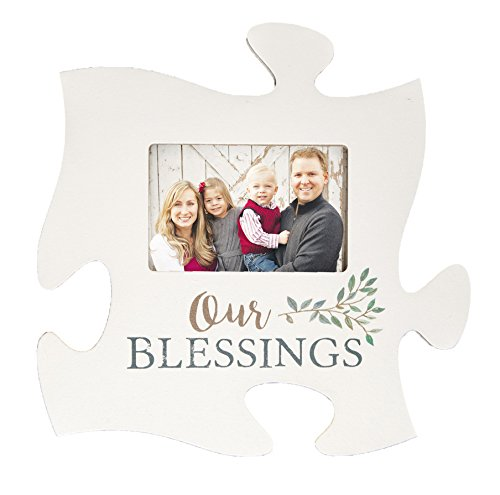 P. GRAHAM DUNN Our Blessings White 12 x 12 Wood Puzzle Photo Frame Wall Plaque
