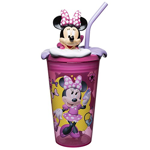 Zak Designs Disney Minnie Mouse - Funtastic Tumbler with Straw and Unique 3D Character on Lid, 360 Degrees Sculpted Design Stands Out, Screw-On Lid with Durable Straw Keeps Liquids In (15oz, BPA-Free)