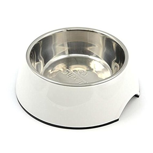 NACOCO Stainless Steel Dog Bowl Pet Food and Water Bowl with Non-skid Rubber Bottom Easy Cleaning Heat- Resistant Melamine for Dog and Cat (S, White)