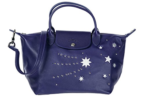 Longchamp bolso de mano para compras en piel mujer nuevo violeta