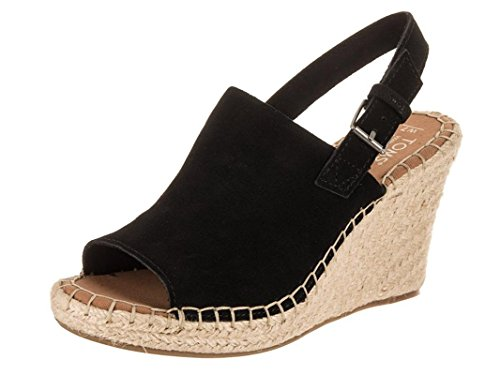 TOMS Women's, Monica Wedge Espadrille (10, Black Suede)