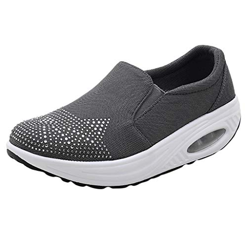 TnaIolral Women Shoes Rhinestone Cushion Sports Summer Thick Bottom Shaking Snearker (US:6.5, Dark Gray) -