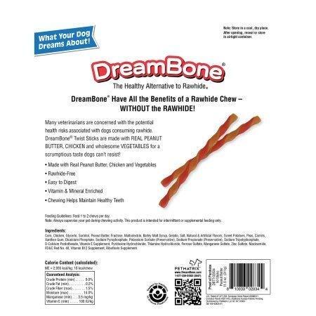 DreamBone Twist Treat Chew Sticks Peanut Butter 50 Pk, Pack Bundle of 2 100 Treats Total