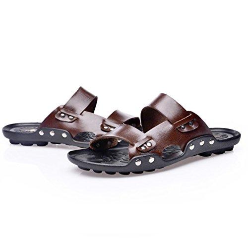Rivet Men's Universal SUNROLAN Decor Sandals Brown Slide Adolph Leather fxHSzI