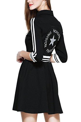 De las mujeres la mitad de la manga una línea vestido Casual negro
