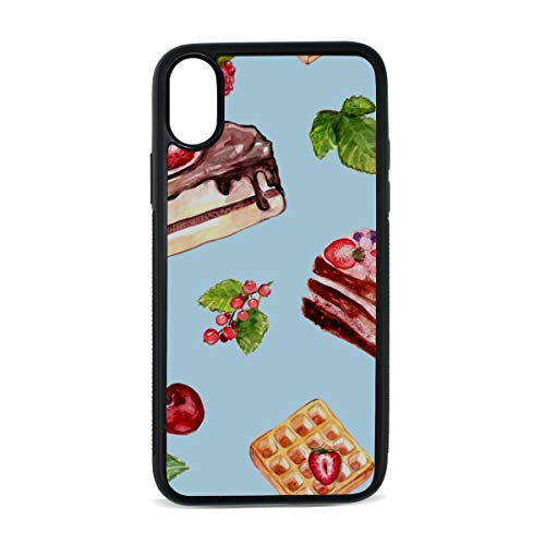 Waffle Dessert Hand Drawn Food Digital Print TPU Pc Pearl Plate Cover Phone Hard Case Cell Phone Accessories Compatible with Protective Apple Iphonex/xs Case 5.8 Inch