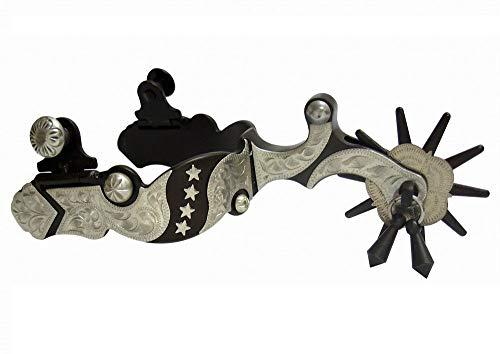 (AJ Tack Wholesale Western Show Spurs Silver Stars Engraving Jingle Bobs Chap Guard Mens Size )